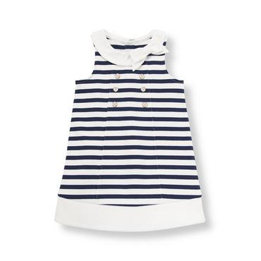 Pure White Stripe Striped Ponte Dress at JanieandJack