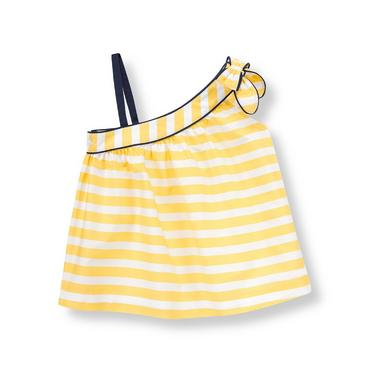 Sunshine Yellow Stripe Striped One-Shoulder Top at JanieandJack