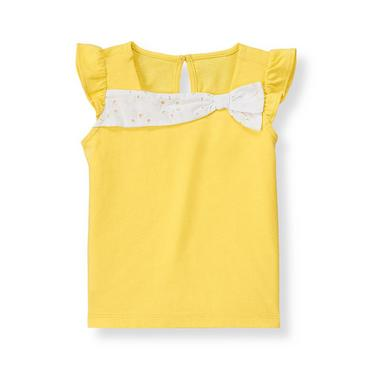 Daffodil Yellow Eyelet Bow Knit Top at JanieandJack