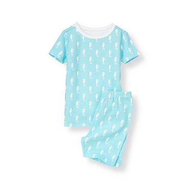 Aqua Blue Seahorse Short Pajama Set at JanieandJack