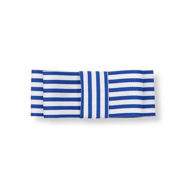 Royal Blue Stripe Stripe Bow Barrette at JanieandJack