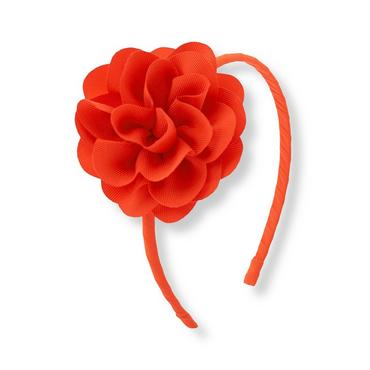 Bright Coral Flower Corsage Headband at JanieandJack