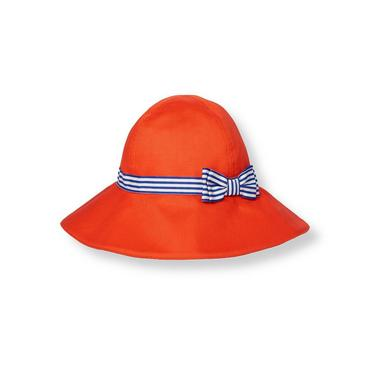 Bright Coral Stripe Band Dobby Sunhat at JanieandJack