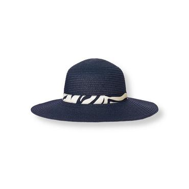 Summer Navy Zebra Band Straw Sunhat at JanieandJack