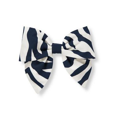 Navy Zebra Zebra Bow Barrette at JanieandJack