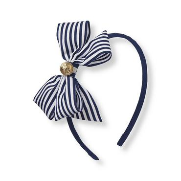 Marine Navy Striped Bow Headband at JanieandJack