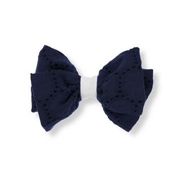 Marine Navy Eyelet Bow Barrette at JanieandJack