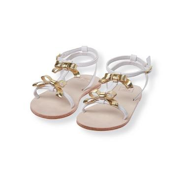 Metallic Gold/White Gold Bow Sandal at JanieandJack