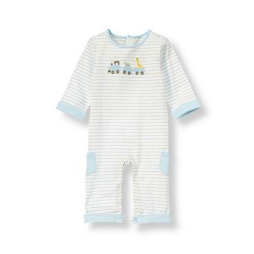 Baby Boy Train Blue Stripe Train Striped One-Piece at JanieandJack