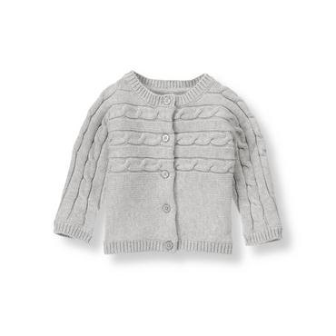 Heather Grey Cable Cardigan at JanieandJack