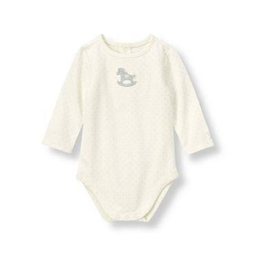 Ivory Dot Rocking Horse Dotted Bodysuit at JanieandJack
