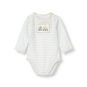 Train Blue Stripe Train Striped Bodysuit at JanieandJack