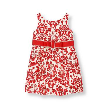 Crimson Floral Ribbon Sash Damask Dress at JanieandJack