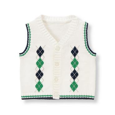 Baby Boy Ivory Argyle Sweater Vest at JanieandJack