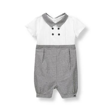 Baby Boy Ivory Pique Plaid One-Piece at JanieandJack