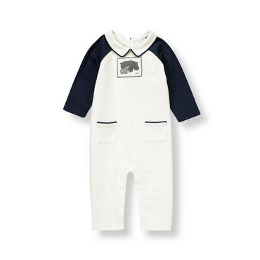 Baby Boy Ivory Hippo One-Piece at JanieandJack