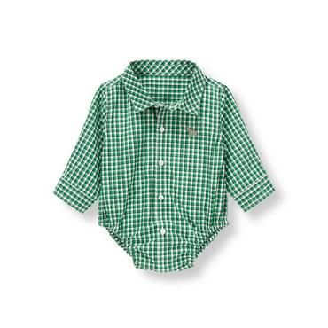 Grass Green Plaid Hippo Plaid Bodysuit at JanieandJack