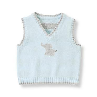 Baby Boy Pale Blue Elephant Sweater Vest at JanieandJack