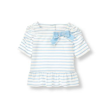 Classic White Stripe Striped Bow Peplum Top at JanieandJack