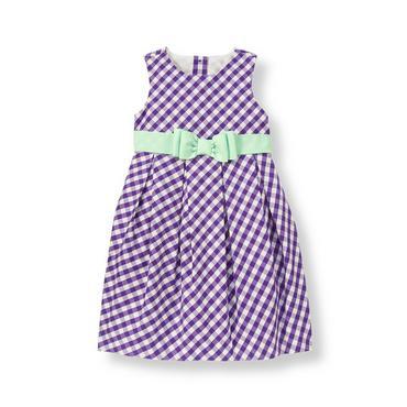 Royal Purple Check Ribbon Sash Gingham Dress at JanieandJack