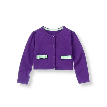 Royal Purple Bow Pocket Cardigan at JanieandJack