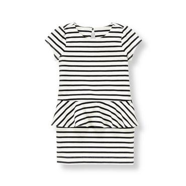 Black Stripe Striped Peplum Dress at JanieandJack