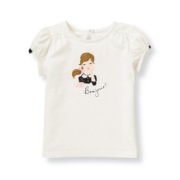 French Ivory Bonjour Girl Top at JanieandJack