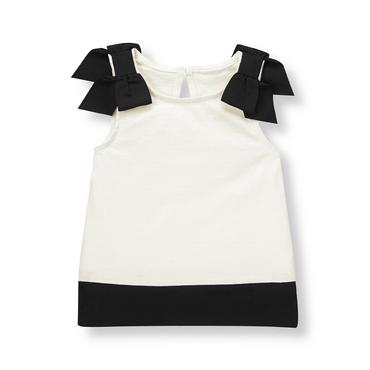 French Ivory Ribbon Bow Top at JanieandJack