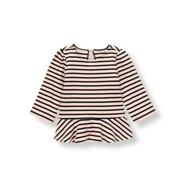 Parisian Pink Stripe Striped Peplum Top at JanieandJack