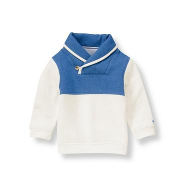 Boys Heather Blue Shawl Collar Pullover at JanieandJack