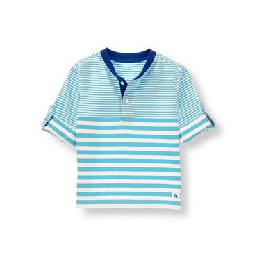 Tidal Blue Stripe Striped Henley Tee at JanieandJack