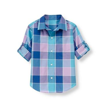 Tidal Blue Plaid Plaid Roll Cuff Shirt at JanieandJack