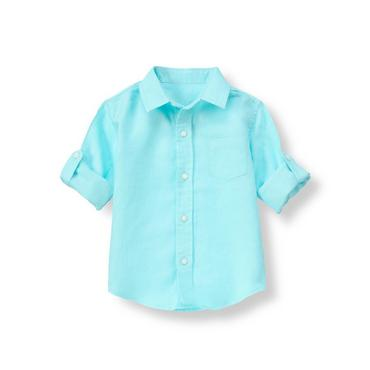 Tidal Blue Linen Roll Cuff Shirt at JanieandJack