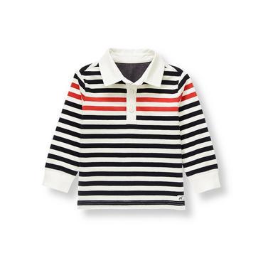 Black Stripe Striped Rugby Shirt at JanieandJack