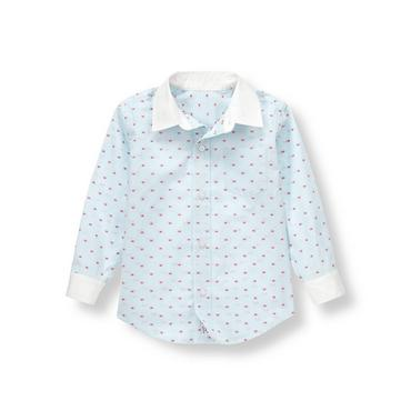 Pale Blue Stripe Striped Dot Dress Shirt at JanieandJack