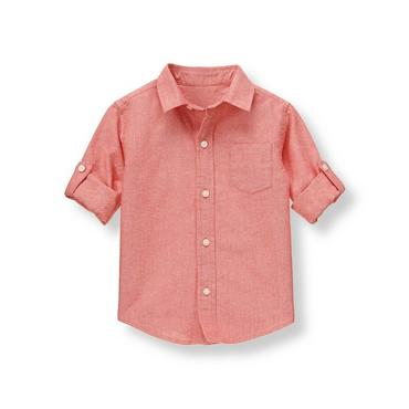 Boys Oxford Red Roll Cuff Oxford Shirt at JanieandJack