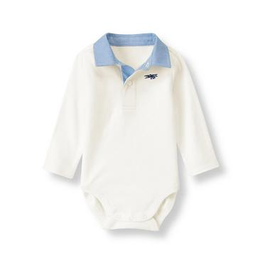 Ivory Airplane Polo Bodysuit at JanieandJack