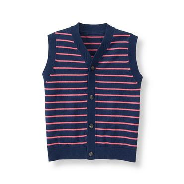 Salmon Stripe Striped Sweater Vest at JanieandJack