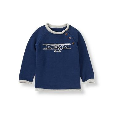 Navy Airplane Sweater at JanieandJack