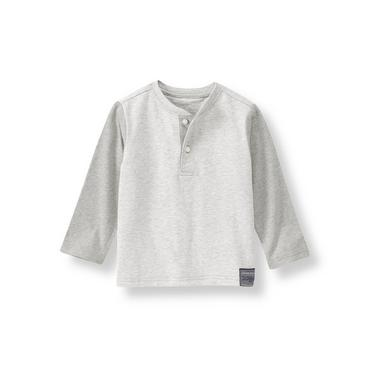 Boys Heather Grey Henley Tee at JanieandJack
