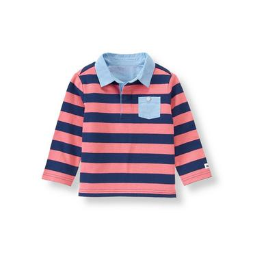 Salmon Stripe Striped Rugby Shirt at JanieandJack