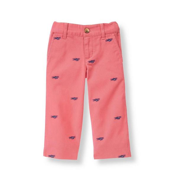 Airplane Embroidered Pant