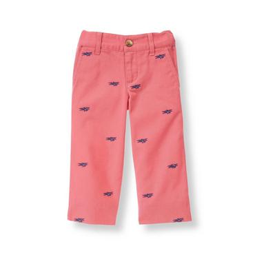 Salmon Airplane Embroidered Pant at JanieandJack