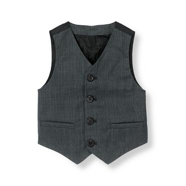 Classic Blue-Grey Wool Suit Vest at JanieandJack