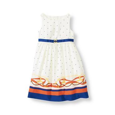 Ivory Equestrian Stripe Border Dress at JanieandJack