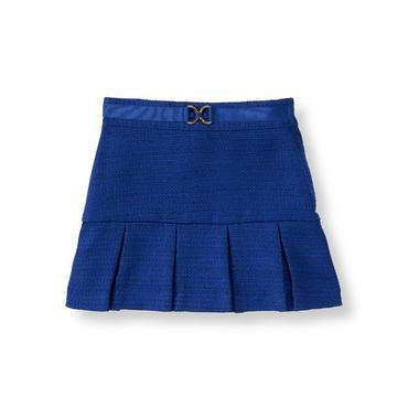 Violet Blue Pleated Boucle Skirt at JanieandJack