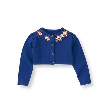 Violet Blue Scarf Bow Cropped Cardigan at JanieandJack