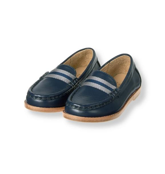Striped Trim Leather Loafer