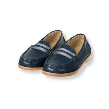 Navy Striped Trim Leather Loafer at JanieandJack