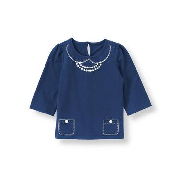 Navy Button Necklace Top at JanieandJack